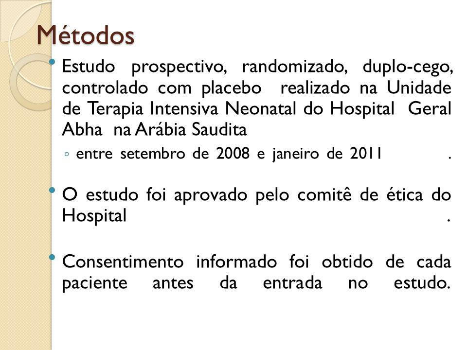 Métodos Estudo prospectivo, randomizado, duplo-cego, controlado com placebo realizado na Unidade de Terapia Intensiva Neonatal do Hospital Geral Abha