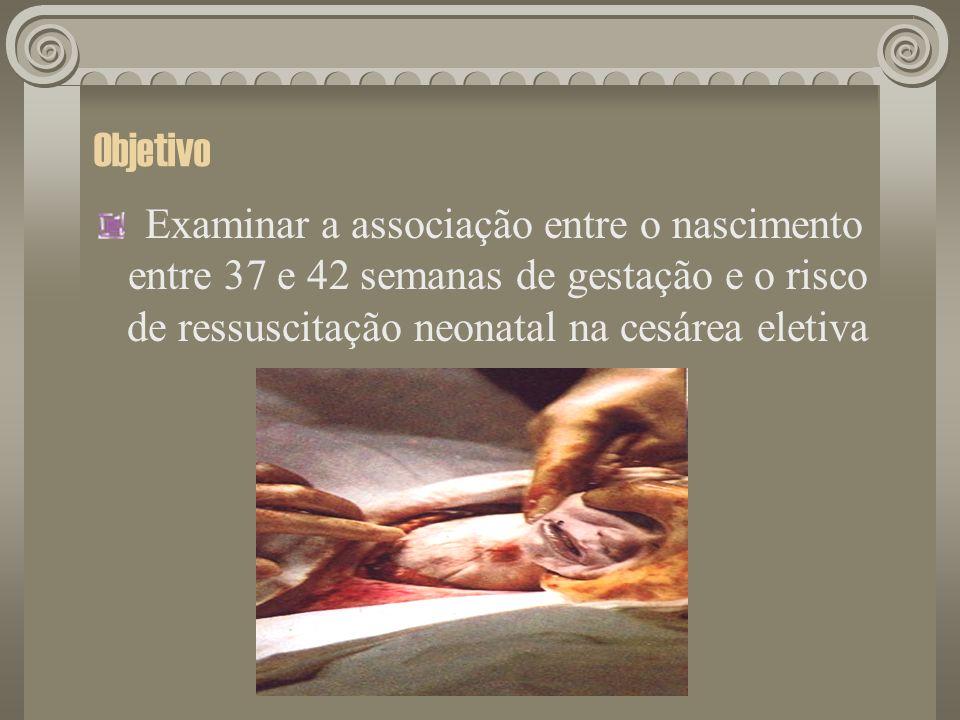 Objetivo Examinar a associação entre o nascimento entre 37 e 42 semanas de gestação e o risco de ressuscitação neonatal na cesárea eletiva