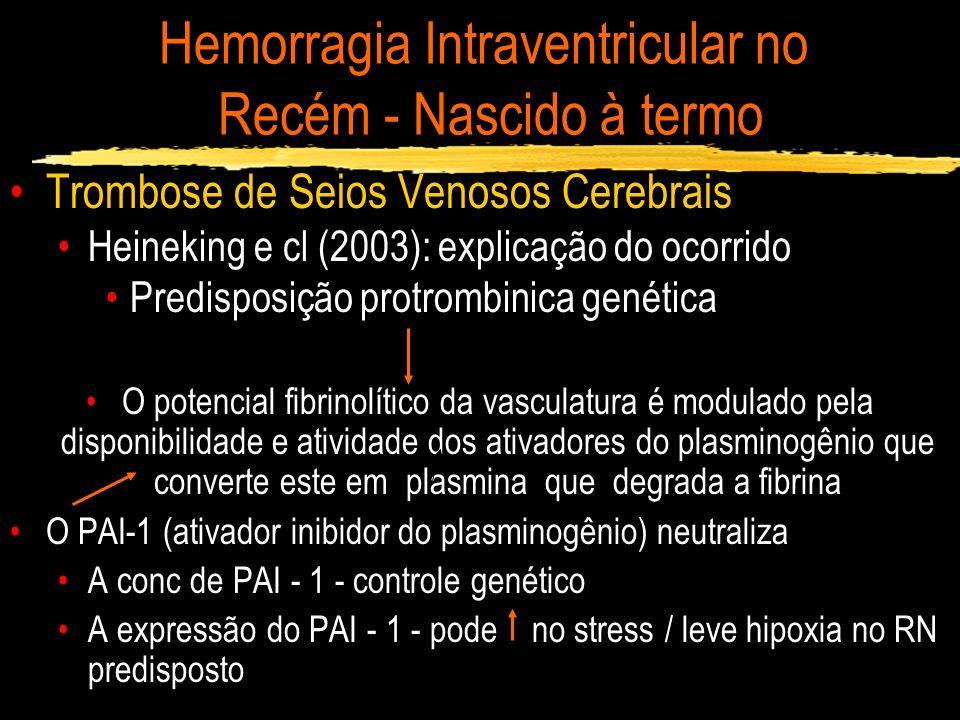 Hemorragia Intraventricular no Recém - Nascido à termo Trombose de Seios Venosos Cerebrais Heineking e cl (2003): explicação do ocorrido Predisposição