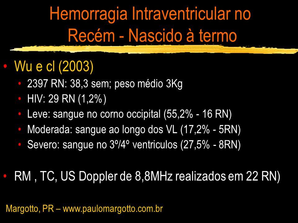 Hemorragia Intraventricular no Recém - Nascido à termo Wu e cl (2003) 2397 RN: 38,3 sem; peso médio 3Kg HIV: 29 RN (1,2%) Leve: sangue no corno occipi