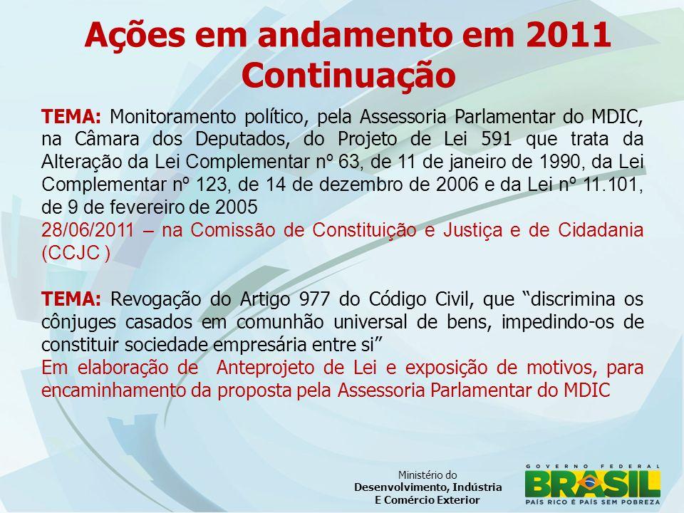 Ministério do Desenvolvimento, Indústria E Comércio Exterior TEMA: Monitoramento político, pela Assessoria Parlamentar do MDIC, na Câmara dos Deputados, do Projeto de Lei 591 que trata da Alteração da Lei Complementar nº 63, de 11 de janeiro de 1990, da Lei Complementar nº 123, de 14 de dezembro de 2006 e da Lei nº 11.101, de 9 de fevereiro de 2005 28/06/2011 – na Comissão de Constituição e Justiça e de Cidadania (CCJC ) TEMA: Revogação do Artigo 977 do Código Civil, que discrimina os cônjuges casados em comunhão universal de bens, impedindo-os de constituir sociedade empresária entre si Em elaboração de Anteprojeto de Lei e exposição de motivos, para encaminhamento da proposta pela Assessoria Parlamentar do MDIC Ações em andamento em 2011 Continuação