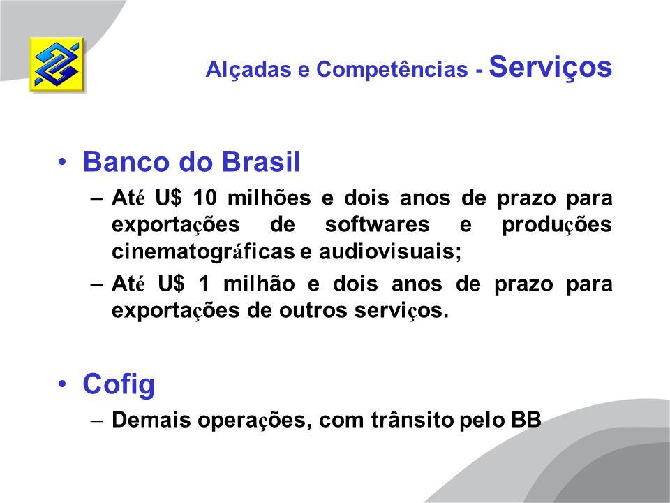 Alçadas e Competências - Serviços Banco do Brasil –At é U$ 10 milhões e dois anos de prazo para exporta ç ões de softwares e produ ç ões cinematogr á