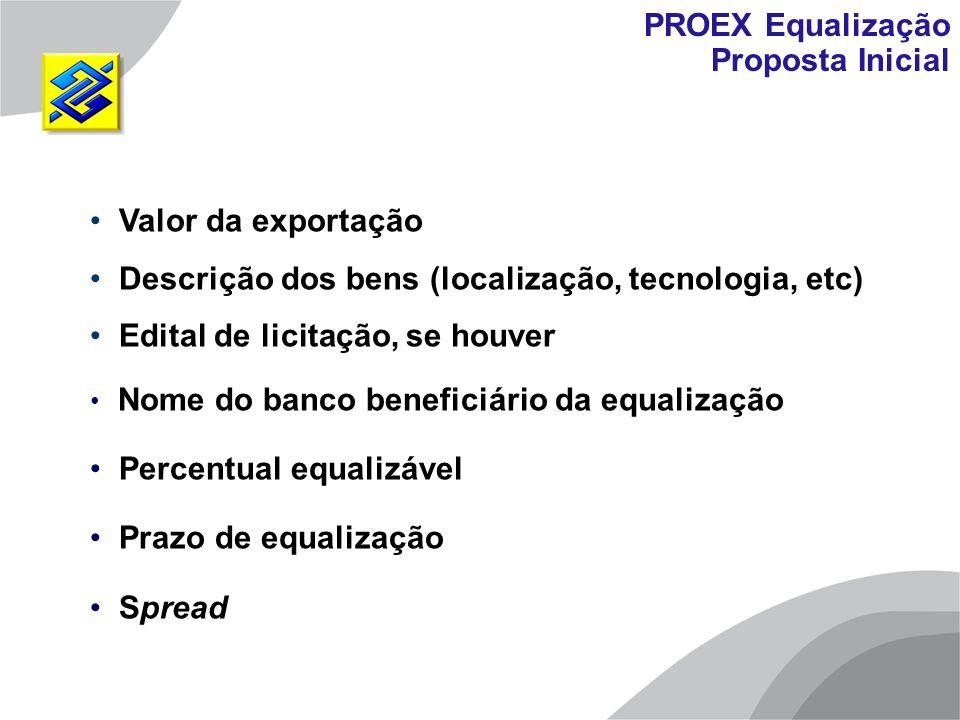 Valor da exportação Descrição dos bens (localização, tecnologia, etc) Edital de licitação, se houver Nome do banco beneficiário da equalização Percent