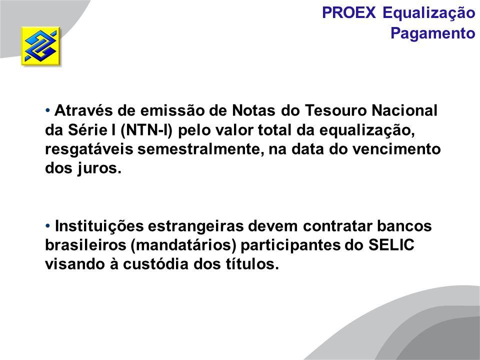 Através de emissão de Notas do Tesouro Nacional da Série I (NTN-I) pelo valor total da equalização, resgatáveis semestralmente, na data do vencimento