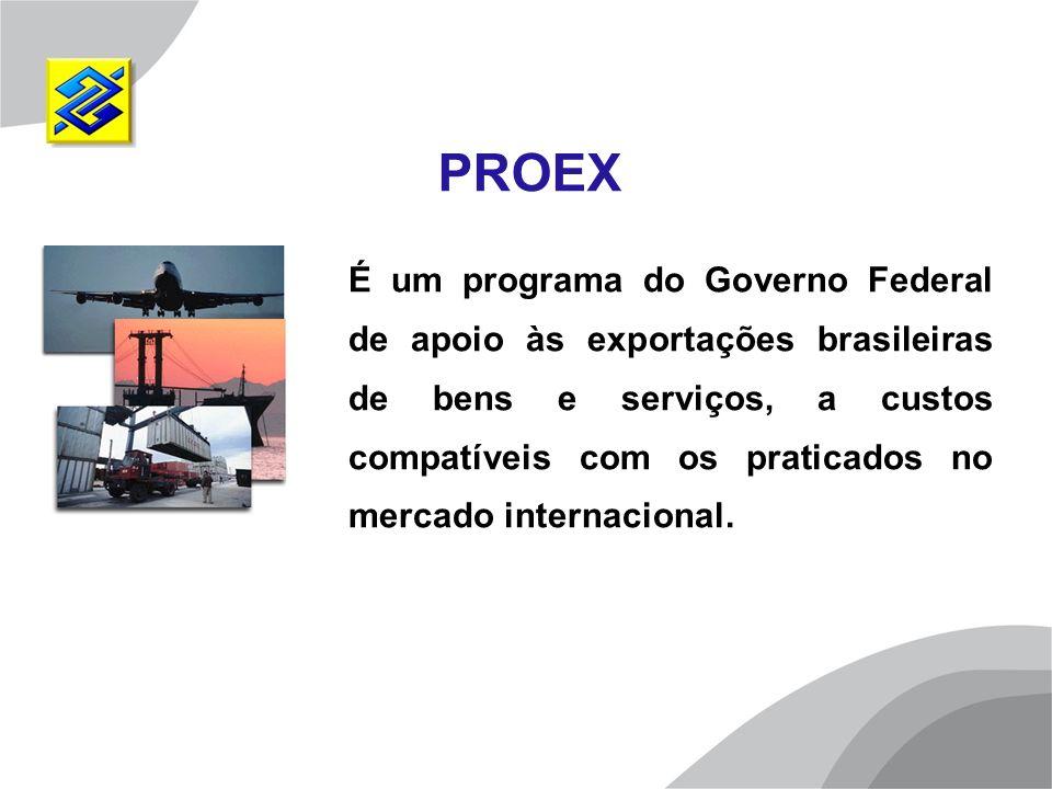 É um programa do Governo Federal de apoio às exportações brasileiras de bens e serviços, a custos compatíveis com os praticados no mercado internacion