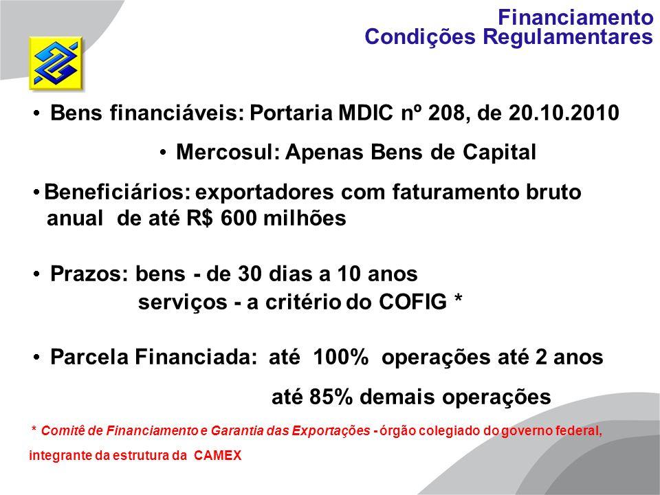 Bens financiáveis: Portaria MDIC nº 208, de 20.10.2010 Mercosul: Apenas Bens de Capital Beneficiários: exportadores com faturamento bruto anual de até