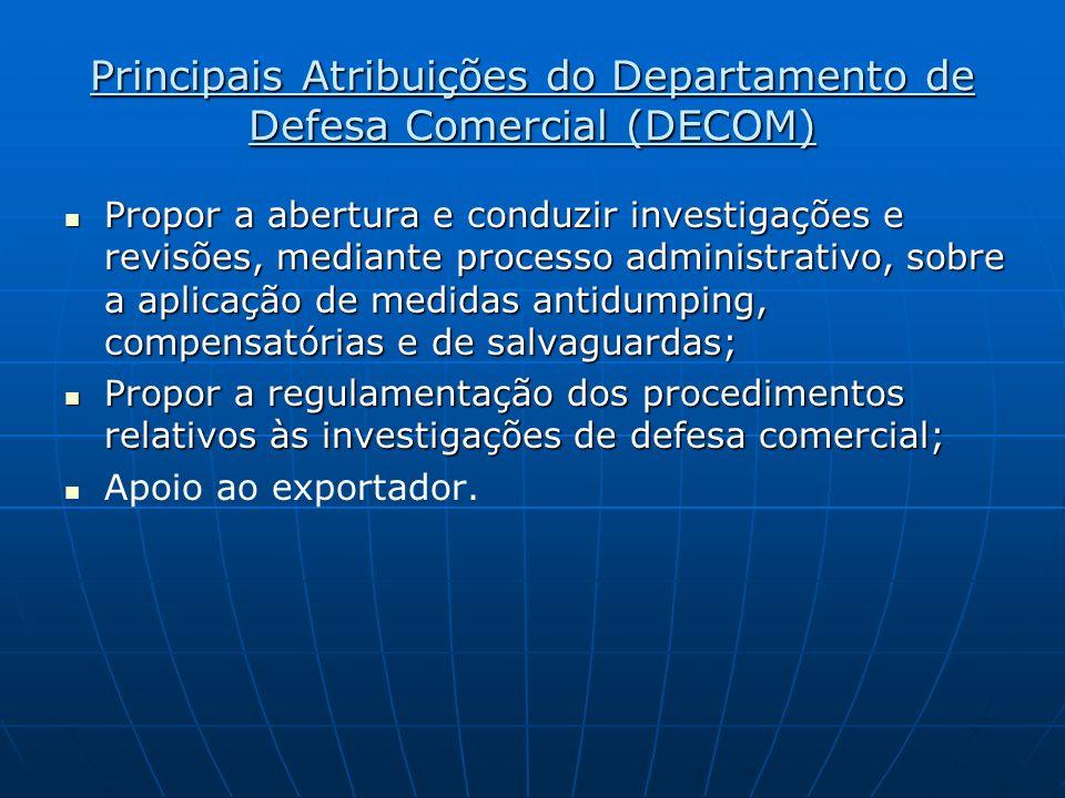 Principais Atribuições do Departamento de Defesa Comercial (DECOM) Propor a abertura e conduzir investigações e revisões, mediante processo administra