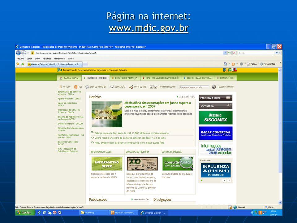 Página na internet: www.mdic.gov.br www.mdic.gov.br