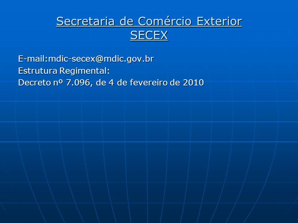 Secretaria de Comércio Exterior SECEX E-mail:mdic-secex@mdic.gov.br Estrutura Regimental: Decreto nº 7.096, de 4 de fevereiro de 2010
