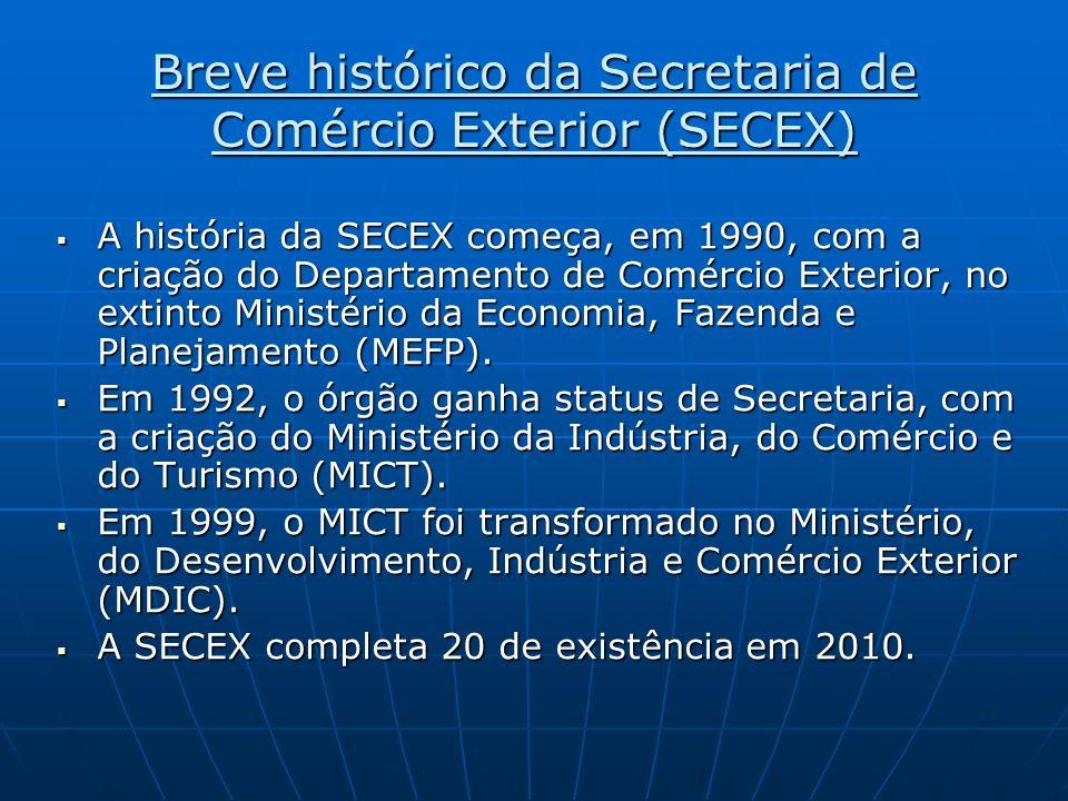 Breve histórico da Secretaria de Comércio Exterior (SECEX) A história da SECEX começa, em 1990, com a criação do Departamento de Comércio Exterior, no