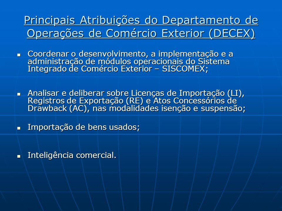 Principais Atribuições do Departamento de Operações de Comércio Exterior (DECEX) Coordenar o desenvolvimento, a implementação e a administração de mód