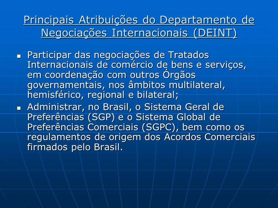 Principais Atribuições do Departamento de Negociações Internacionais (DEINT) Participar das negociações de Tratados Internacionais de comércio de bens