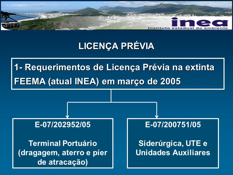 LICENÇA PRÉVIA Lei Estadual 1356 de 03/10/88 determina que o licenciamento de terminal portuário e de siderúrgica dependerá de prévio Estudo de Impacto Ambiental (EIA) e de seu respectivo Relatório de Impacto Ambiental (RIMA)