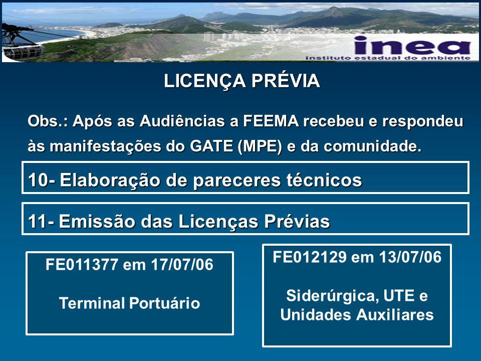 LICENÇA PRÉVIA Obs.: Após as Audiências a FEEMA recebeu e respondeu às manifestações do GATE (MPE) e da comunidade. 10- Elaboração de pareceres técnic
