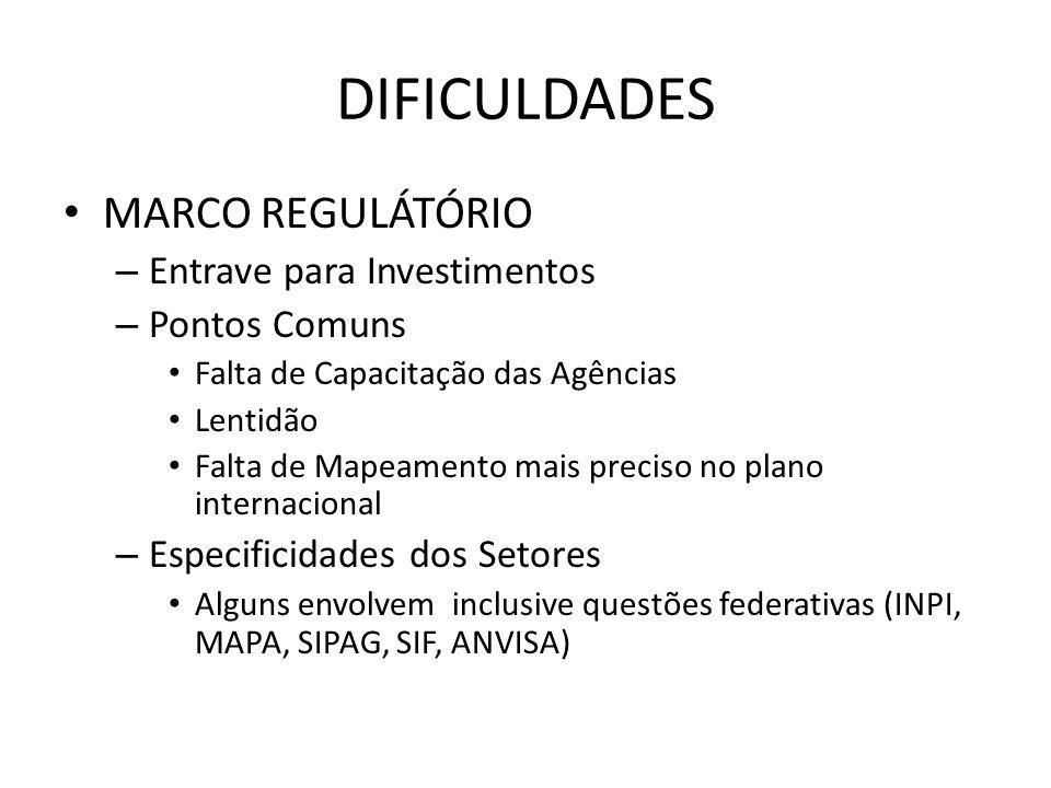 DIFICULDADES MARCO REGULÁTÓRIO – Entrave para Investimentos – Pontos Comuns Falta de Capacitação das Agências Lentidão Falta de Mapeamento mais precis