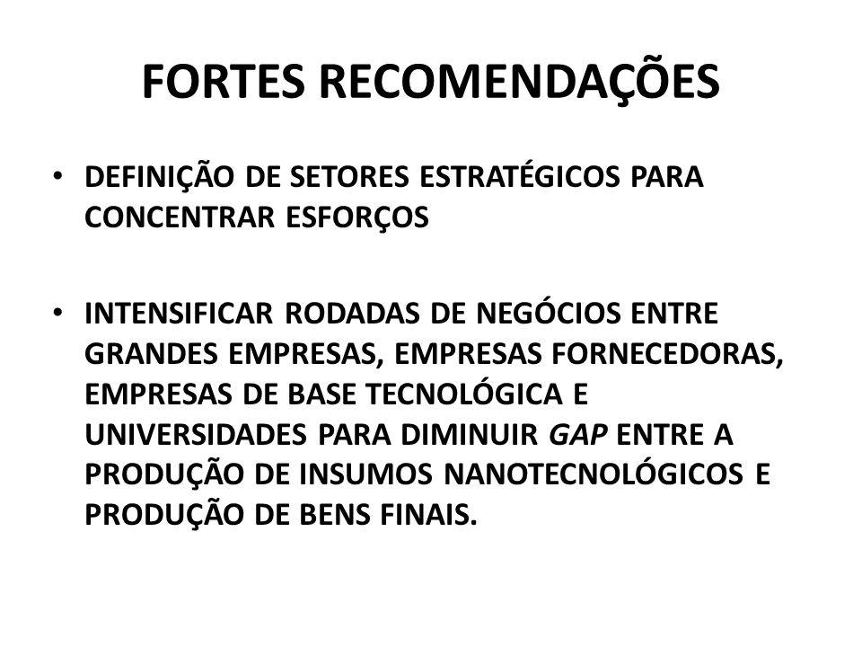 FORTES RECOMENDAÇÕES DEFINIÇÃO DE SETORES ESTRATÉGICOS PARA CONCENTRAR ESFORÇOS INTENSIFICAR RODADAS DE NEGÓCIOS ENTRE GRANDES EMPRESAS, EMPRESAS FORN