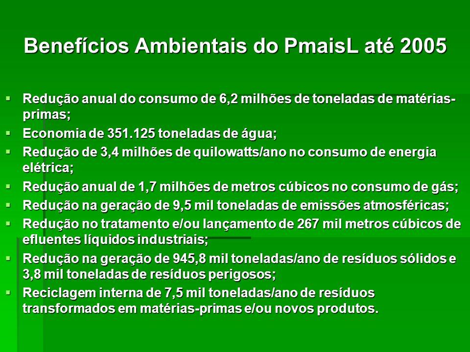 Benefícios Ambientais do PmaisL até 2005 Redução anual do consumo de 6,2 milhões de toneladas de matérias- primas; Redução anual do consumo de 6,2 mil