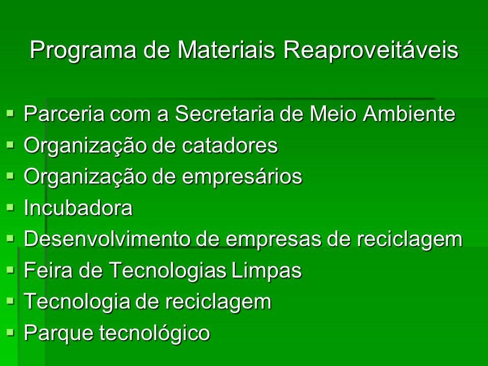 Programa de Materiais Reaproveitáveis Parceria com a Secretaria de Meio Ambiente Parceria com a Secretaria de Meio Ambiente Organização de catadores O
