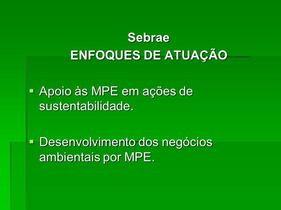 Sebrae ENFOQUES DE ATUAÇÃO Apoio às MPE em ações de sustentabilidade. Apoio às MPE em ações de sustentabilidade. Desenvolvimento dos negócios ambienta