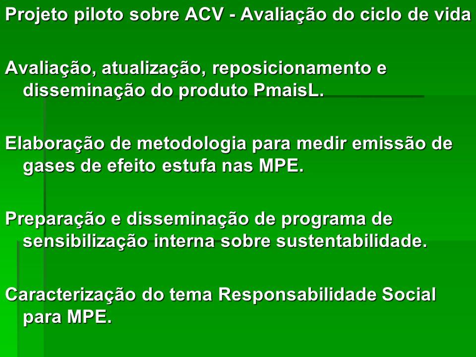 Projeto piloto sobre ACV - Avaliação do ciclo de vida Avaliação, atualização, reposicionamento e disseminação do produto PmaisL. Elaboração de metodol