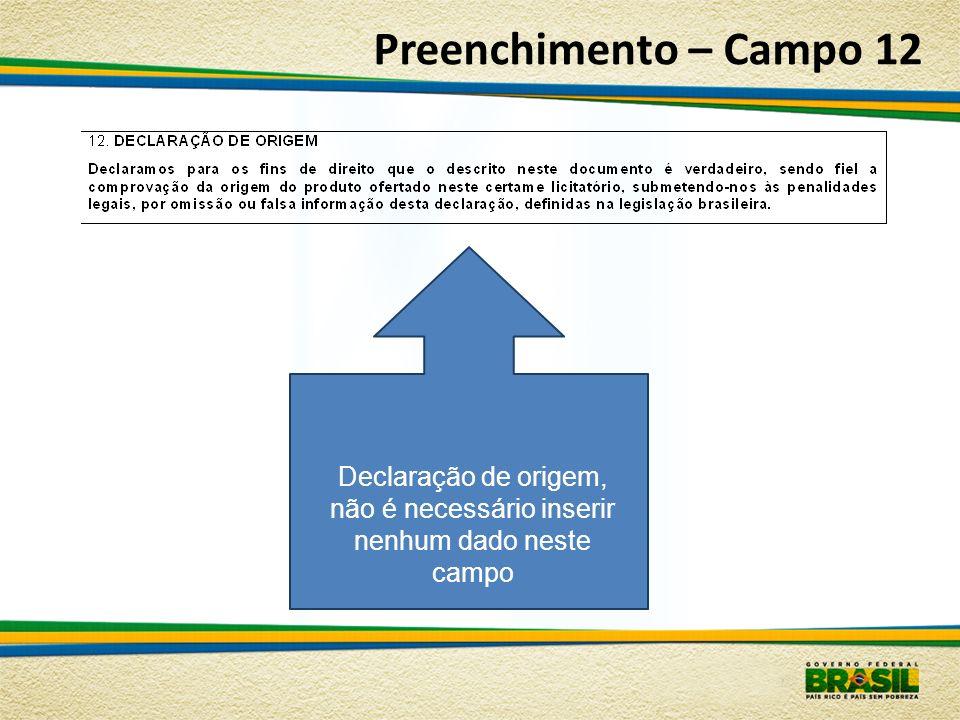 Preenchimento – Campo 12 Declaração de origem, não é necessário inserir nenhum dado neste campo