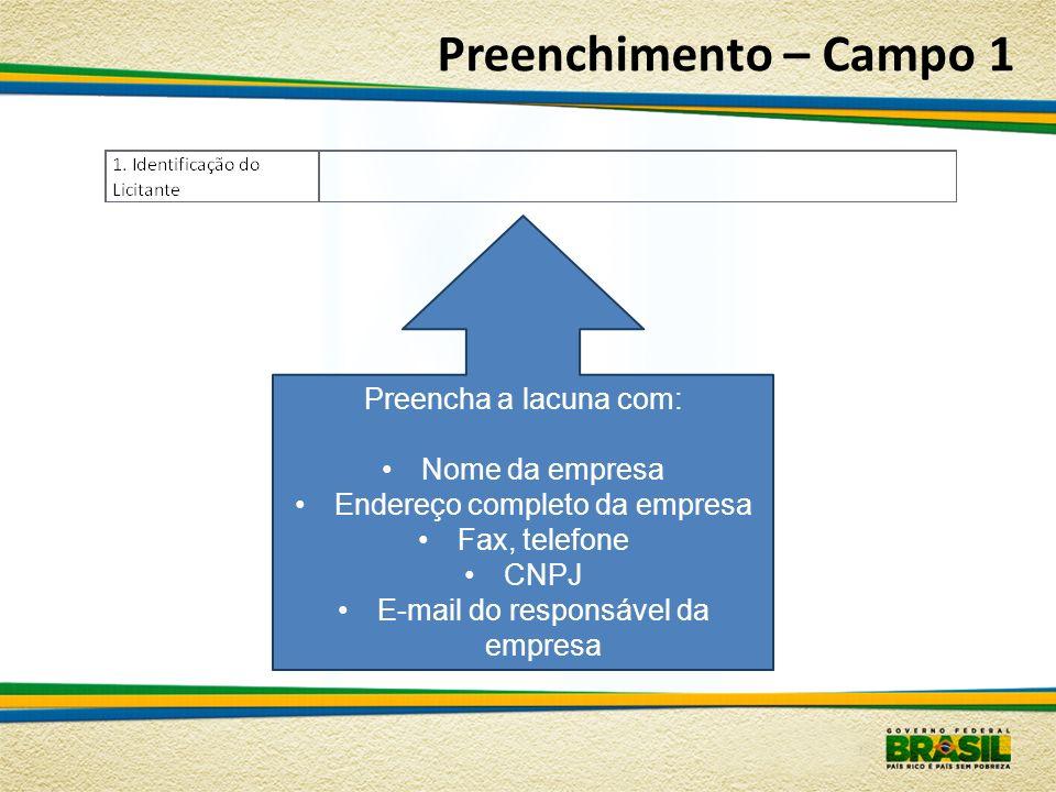 Preenchimento – Campo 1 Preencha a lacuna com: Nome da empresa Endereço completo da empresa Fax, telefone CNPJ E-mail do responsável da empresa