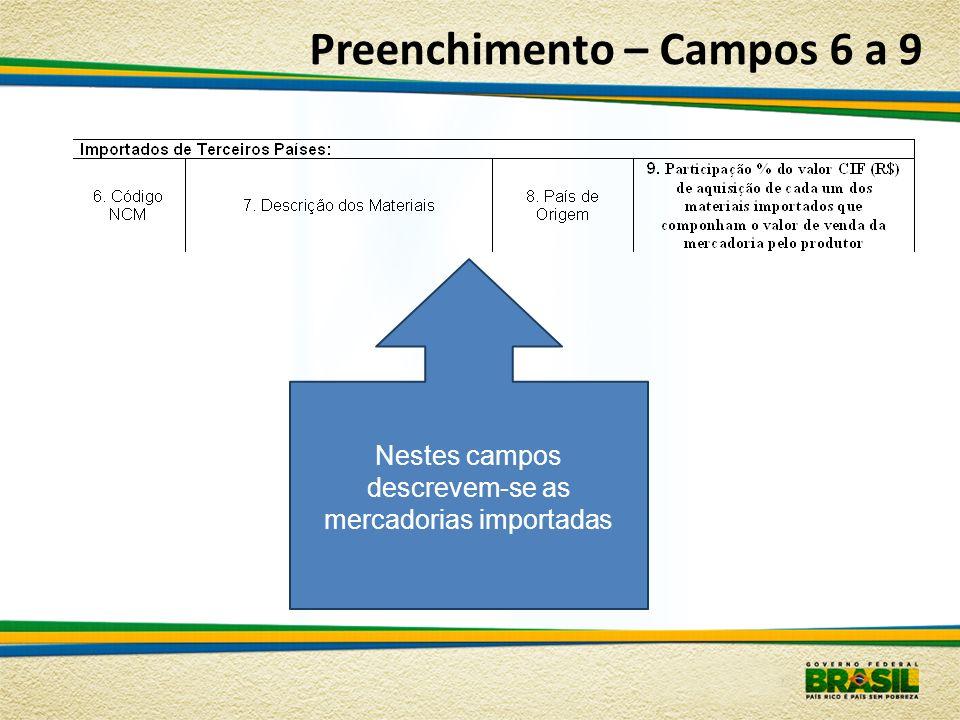 Preenchimento – Campos 6 a 9 Nestes campos descrevem-se as mercadorias importadas