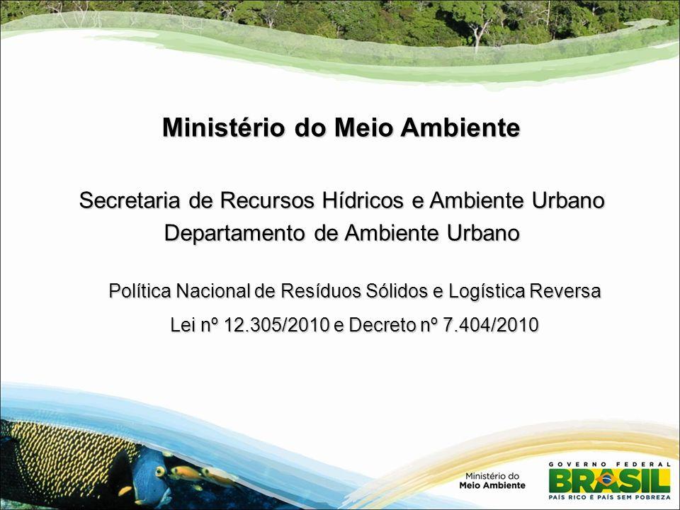 Política Nacional de Resíduos Sólidos e Logística Reversa Lei nº 12.305/2010 e Decreto nº 7.404/2010 Ministério do Meio Ambiente Secretaria de Recurso
