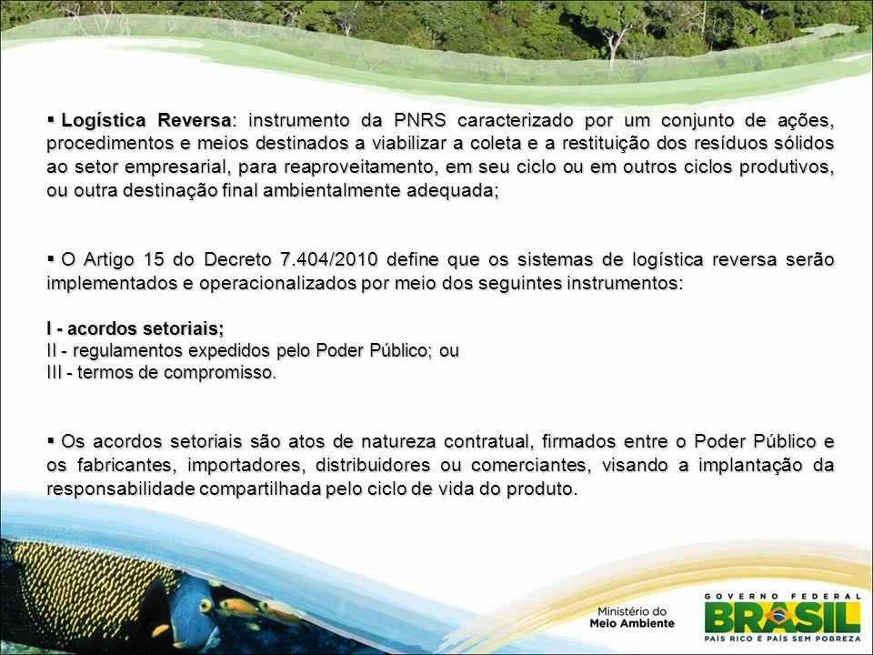Logística Reversa: instrumento da PNRS caracterizado por um conjunto de ações, procedimentos e meios destinados a viabilizar a coleta e a restituição