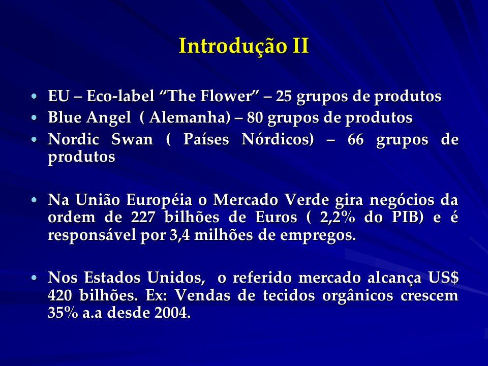 Introdução II EU – Eco-label The Flower – 25 grupos de produtos EU – Eco-label The Flower – 25 grupos de produtos Blue Angel ( Alemanha) – 80 grupos de produtos Blue Angel ( Alemanha) – 80 grupos de produtos Nordic Swan ( Países Nórdicos) – 66 grupos de produtos Nordic Swan ( Países Nórdicos) – 66 grupos de produtos Na União Européia o Mercado Verde gira negócios da ordem de 227 bilhões de Euros ( 2,2% do PIB) e é responsável por 3,4 milhões de empregos.