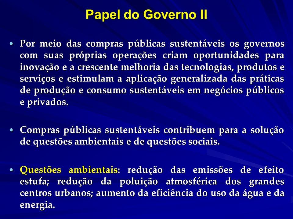 Papel do Governo II Por meio das compras públicas sustentáveis os governos com suas próprias operações criam oportunidades para inovação e a crescente