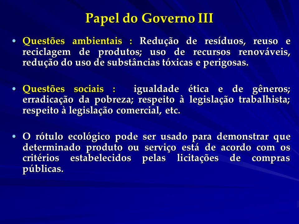 Papel do Governo III Questões ambientais : Redução de resíduos, reuso e reciclagem de produtos; uso de recursos renováveis, redução do uso de substâncias tóxicas e perigosas.