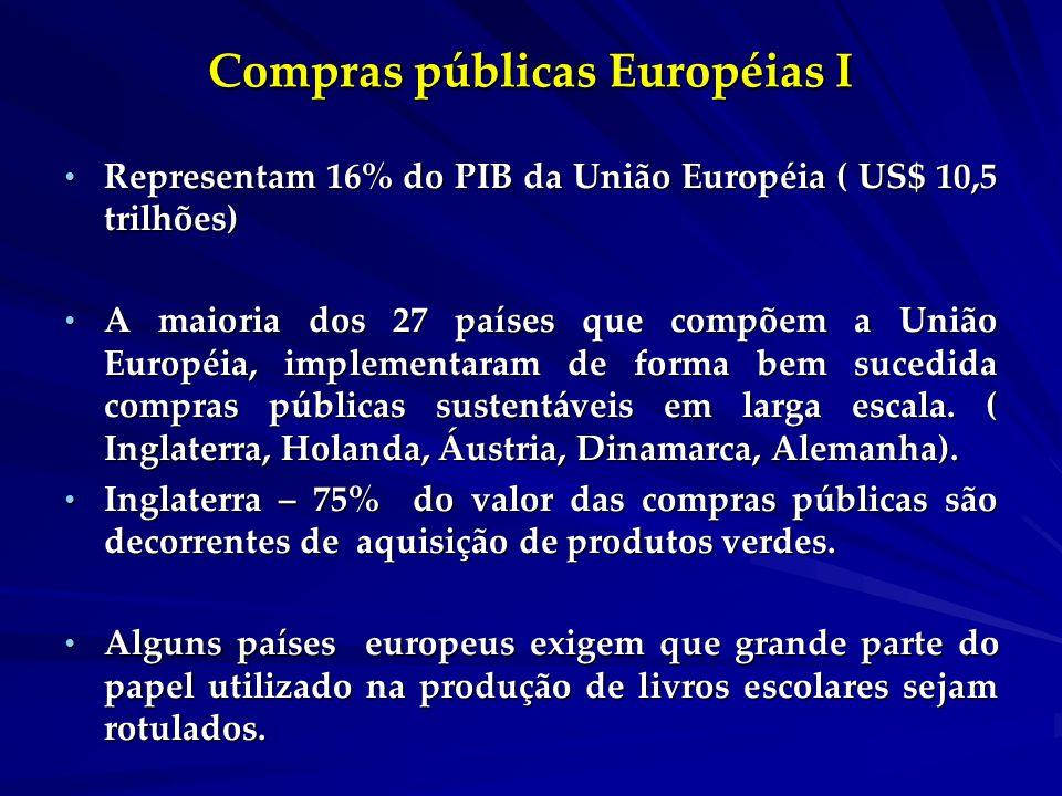Compras públicas Européias I Representam 16% do PIB da União Européia ( US$ 10,5 trilhões) Representam 16% do PIB da União Européia ( US$ 10,5 trilhões) A maioria dos 27 países que compõem a União Européia, implementaram de forma bem sucedida compras públicas sustentáveis em larga escala.