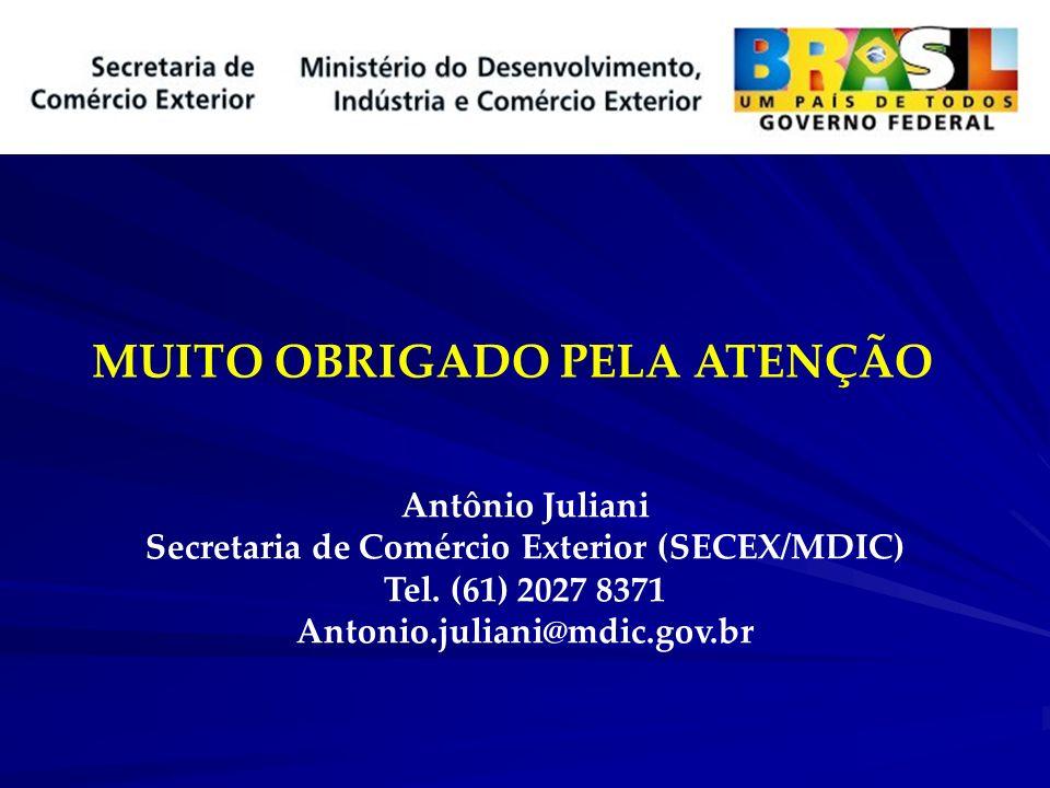 MUITO OBRIGADO PELA ATENÇÃO Antônio Juliani Secretaria de Comércio Exterior (SECEX/MDIC) Tel. (61) 2027 8371 Antonio.juliani@mdic.gov.br