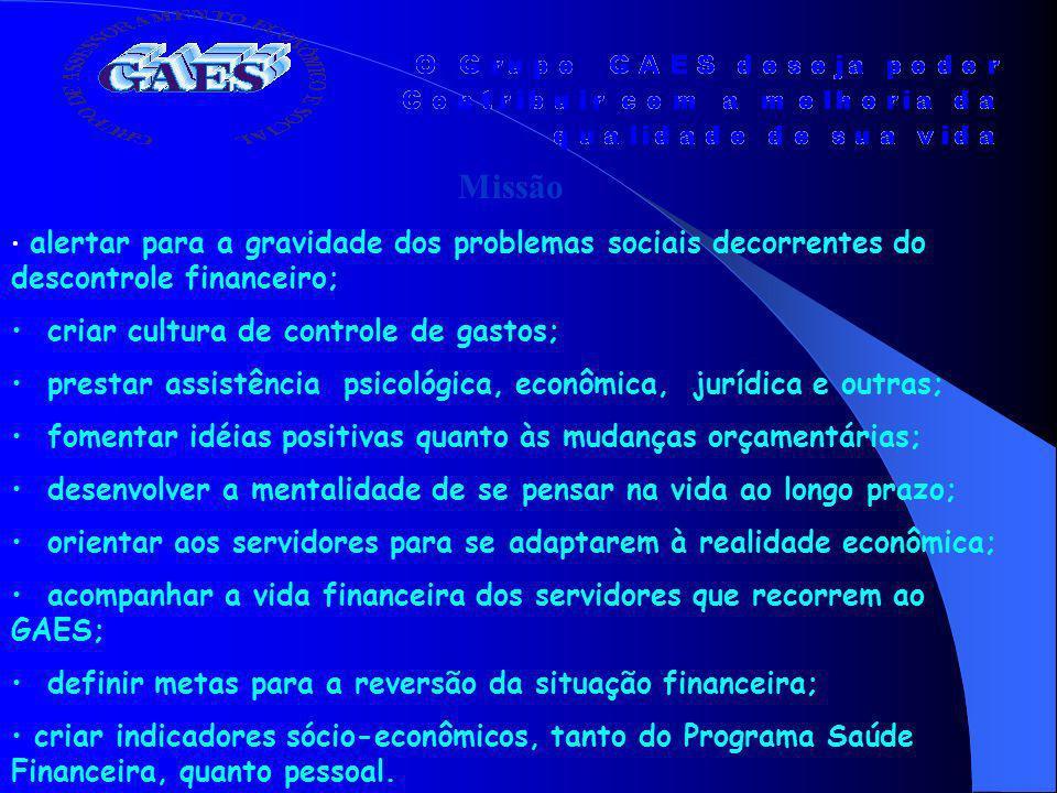 Missão alertar para a gravidade dos problemas sociais decorrentes do descontrole financeiro; criar cultura de controle de gastos; prestar assistência