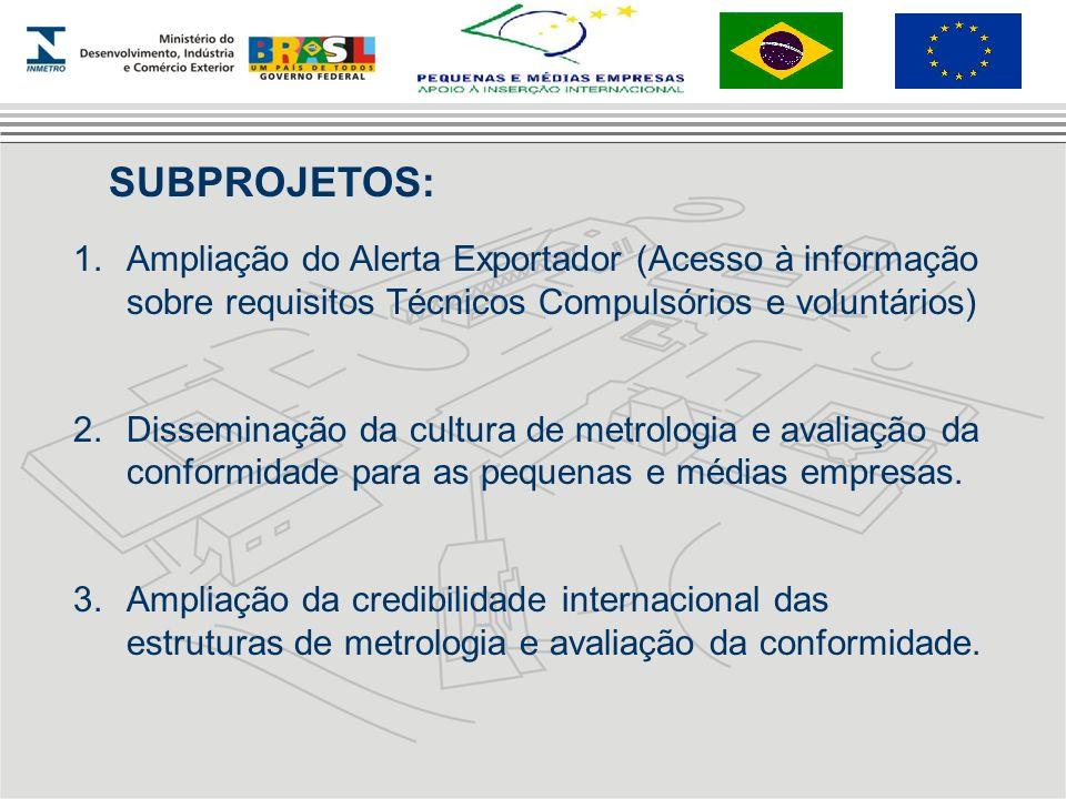 SUBPROJETOS: 1.Ampliação do Alerta Exportador (Acesso à informação sobre requisitos Técnicos Compulsórios e voluntários) 2.Disseminação da cultura de