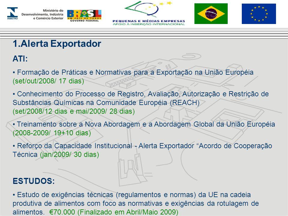 1.Alerta Exportador ATI: Formação de Práticas e Normativas para a Exportação na União Européia (set/out/2008/ 17 dias) Conhecimento do Processo de Reg