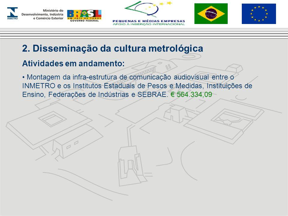 2. Disseminação da cultura metrológica Atividades em andamento: Montagem da infra-estrutura de comunicação audiovisual entre o INMETRO e os Institutos