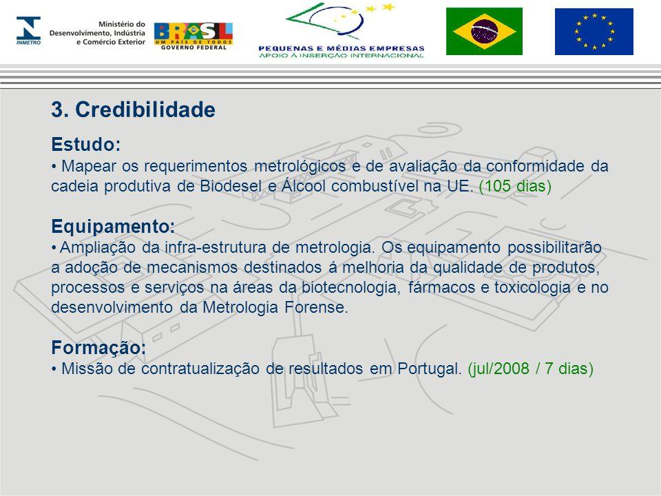3. Credibilidade Estudo: Mapear os requerimentos metrológicos e de avaliação da conformidade da cadeia produtiva de Biodesel e Álcool combustível na U