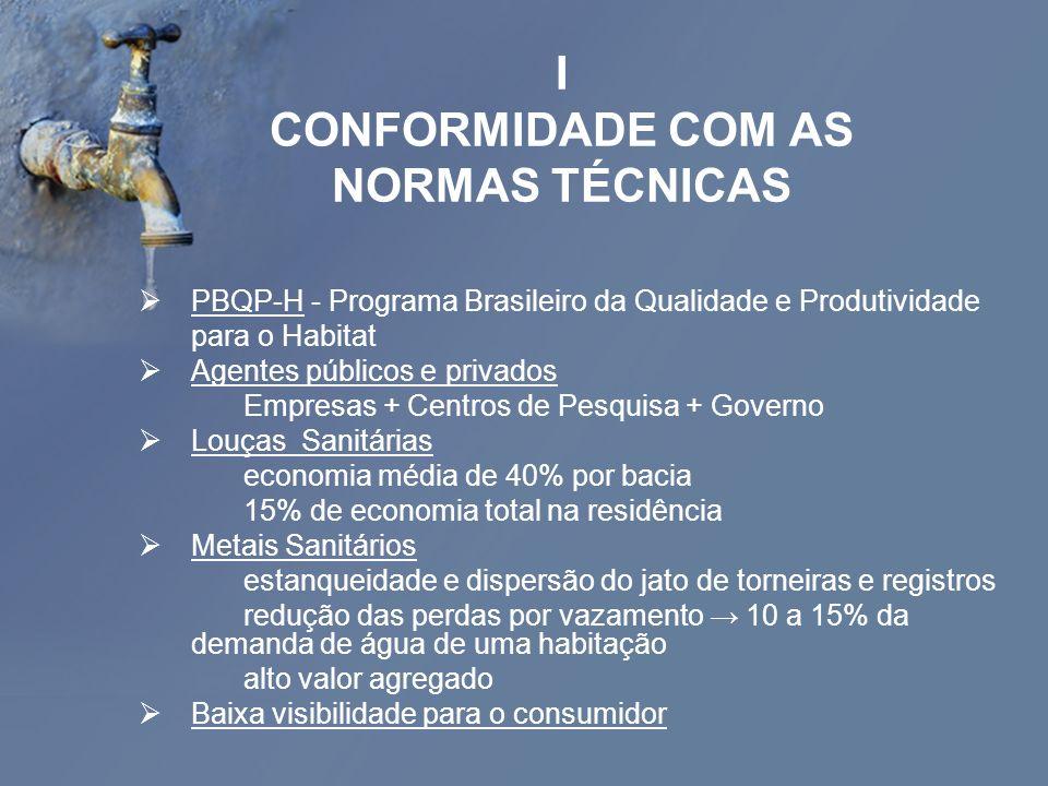 I CONFORMIDADE COM AS NORMAS TÉCNICAS PBQP-H - Programa Brasileiro da Qualidade e Produtividade para o Habitat Agentes públicos e privados Empresas +