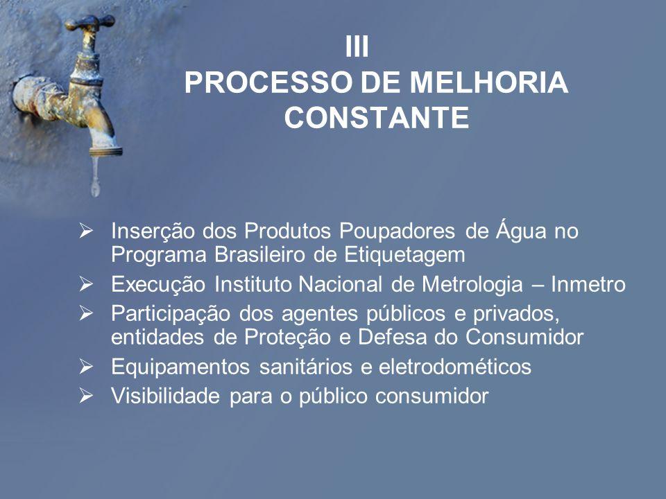 III PROCESSO DE MELHORIA CONSTANTE Inserção dos Produtos Poupadores de Água no Programa Brasileiro de Etiquetagem Execução Instituto Nacional de Metro