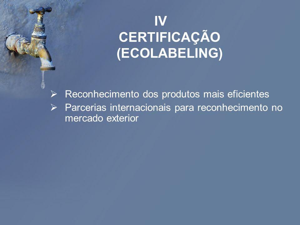 IV CERTIFICAÇÃO (ECOLABELING) Reconhecimento dos produtos mais eficientes Parcerias internacionais para reconhecimento no mercado exterior