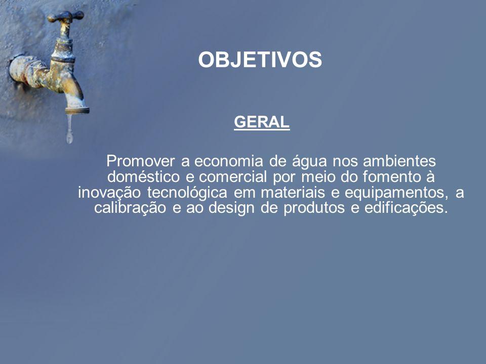 OBJETIVOS GERAL Promover a economia de água nos ambientes doméstico e comercial por meio do fomento à inovação tecnológica em materiais e equipamentos