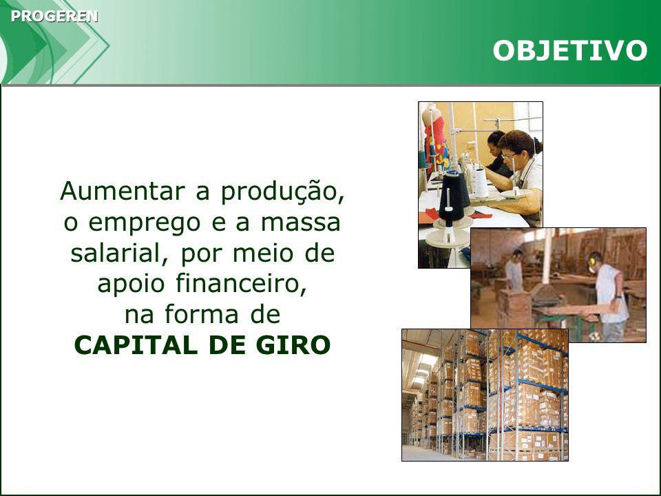 PROGEREN BENEFICIÁRIAS MPMEs Empresários Individuais Localizados em aglomerações produtivas selecionadas