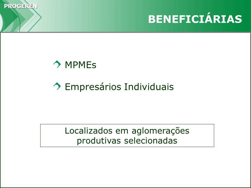 PROGEREN Instrumento de fortalecimento das MPMEs Forte impacto na geração de empregos Geram economias de escala e de escopo Minimizam o risco APOIO A AGLOMERAÇÕES PRODUTIVAS
