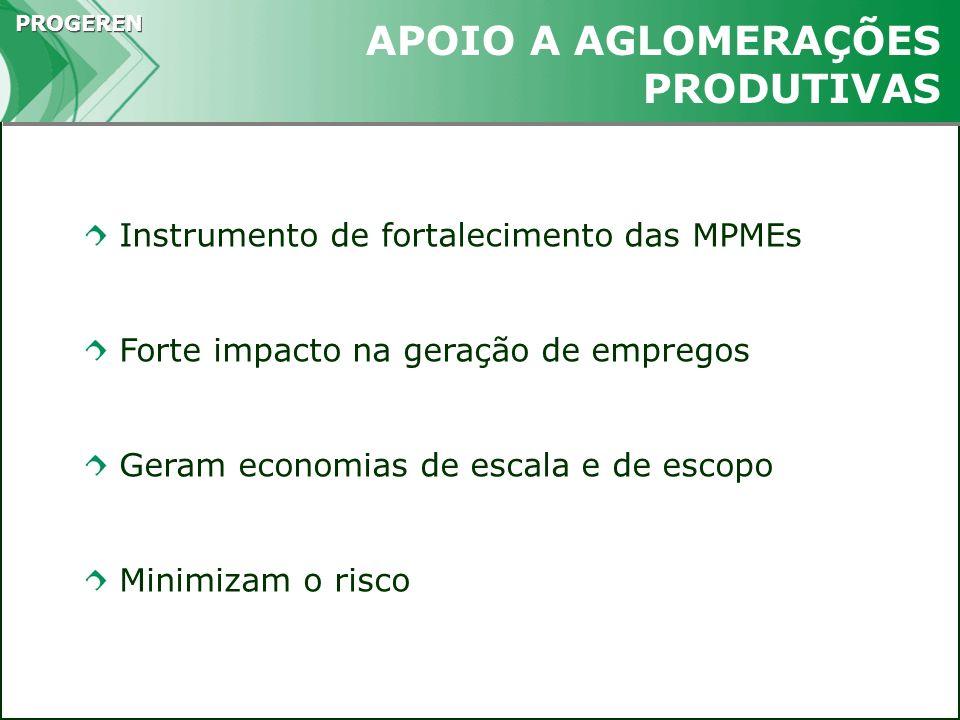 PROGEREN Instrumento de fortalecimento das MPMEs Forte impacto na geração de empregos Geram economias de escala e de escopo Minimizam o risco APOIO A
