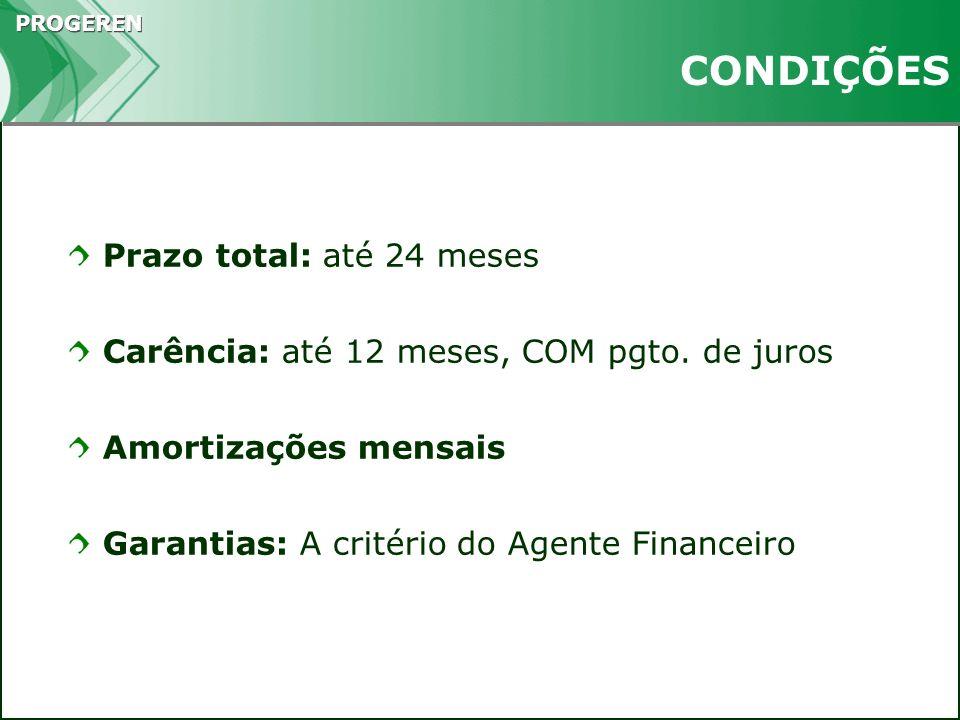 PROGEREN CONDIÇÕES Prazo total: até 24 meses Carência: até 12 meses, COM pgto. de juros Amortizações mensais Garantias: A critério do Agente Financeir