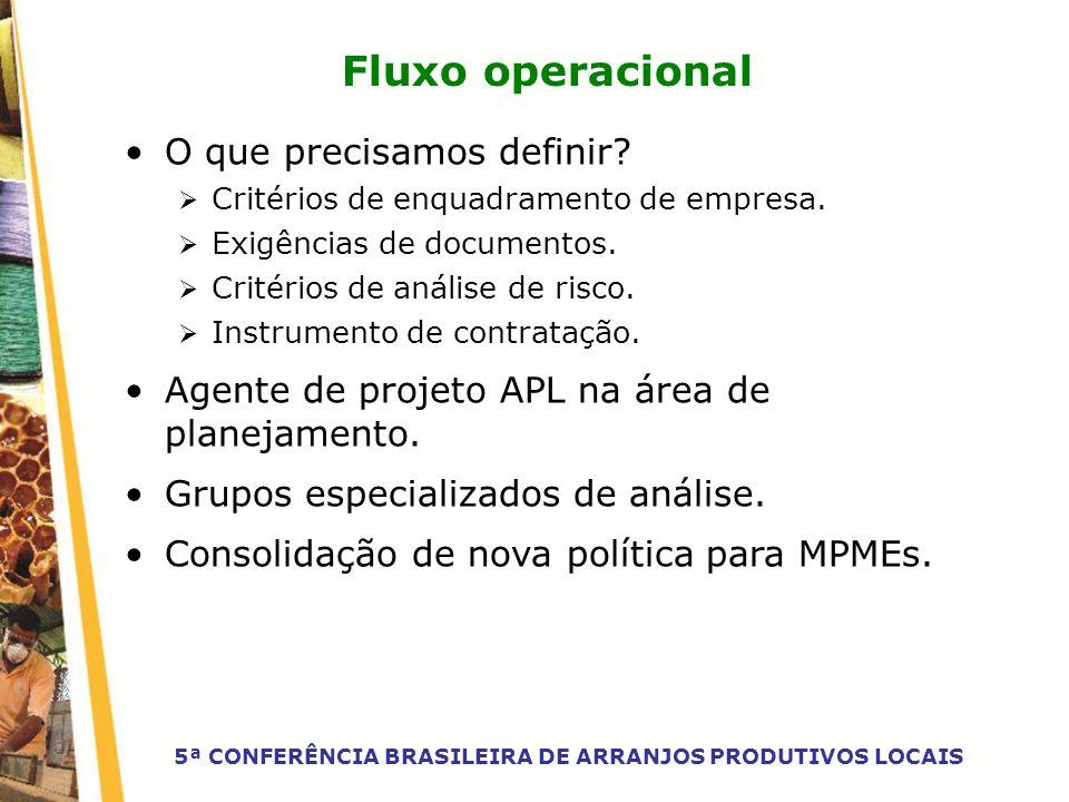 Fluxo operacional O que precisamos definir? Critérios de enquadramento de empresa. Exigências de documentos. Critérios de análise de risco. Instrument