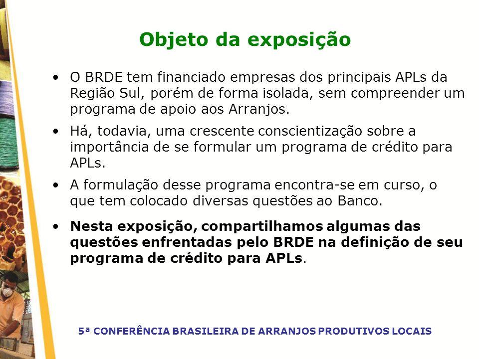 Objeto da exposição O BRDE tem financiado empresas dos principais APLs da Região Sul, porém de forma isolada, sem compreender um programa de apoio aos