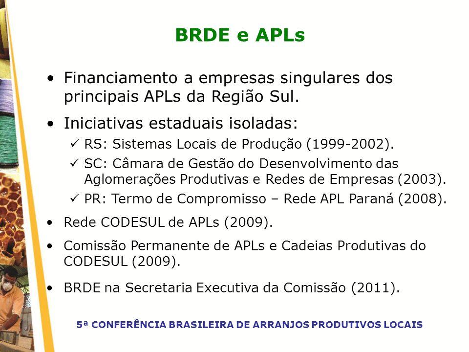 BRDE e APLs Financiamento a empresas singulares dos principais APLs da Região Sul. Iniciativas estaduais isoladas: RS: Sistemas Locais de Produção (19